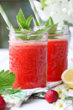 Fresh pressed strawberry lemonade
