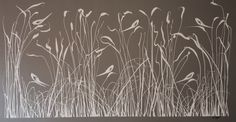 Cream Reeds with Birds on canvas 1.8m x 1m Glen Josselsohn Contemporary Art