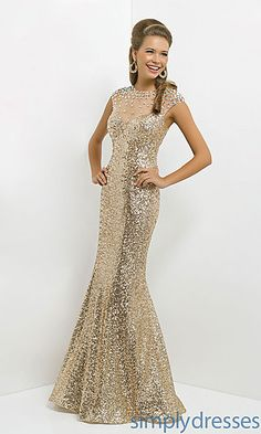 Long Gold Sequin High Neck Dress at SimplyDresses.com