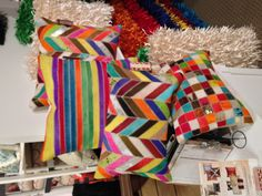 Loving these multi-colored hide pillows I spotted @ Design Accents Suite G-5029 #hpmkt One of each, please! #modernique