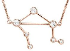 Sterling Forever Women's Zodiac Necklace - 'When Stars Align' Constellation Necklace, Rose Gold Plated