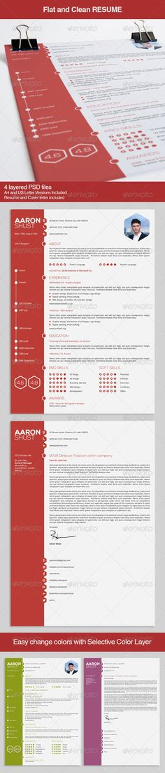 Flat and Clean Resume #GraphicRiver Modern and cool feel with a minimalist and flat approach. Features: 1 Resume with Timeline and 1 Cover Letter A4 and Us Letter format PSD- Photoshop CS6 files Easy to find, modify and customize the information included High resolution(300DPI) and Print ready (CMYK, bleeds) Easy save your PSD file into PDF print ready Free fonts used: Droid Sans ( .1001fonts /droid-sans-font.html ) Nexa ( fontfabric /nexa-free-font/ ) Created: 27September13…