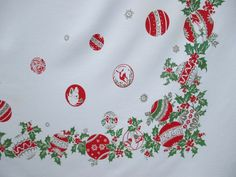 "Vintage CHRISTMAS TABLECLOTH Ornaments with FuN Motifs 46""by 52"" by PacificModern on Etsy https://www.etsy.com/listing/491695491/vintage-christmas-tablecloth-ornaments"