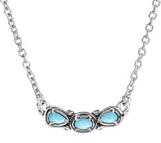 With this stunning three-gemstone sterling silver necklace, it's never difficult to pull off a designer look. From Carolyn Pollack Sterling Jewelry. QVC.com