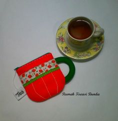Tea Cup Felt  Coin Purse