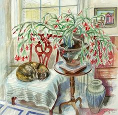 Richard Bawden British) at The Great Cat Richard Bawden britisch) bei The Great Cat Cat Images Hd, Funny Cat Images, Animals Images, Funny Cats, Cat Pictures For Kids, Cute Cats Photos, Christmas Cactus, Christmas Art, Cactus Drawing