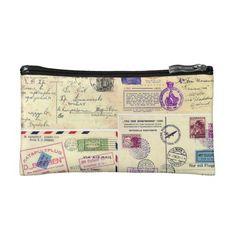 Vintage Travel Postcards Cosmetics Bags