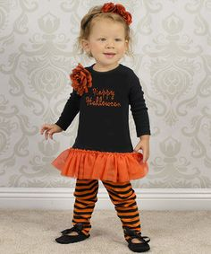 Love this Truffles Ruffles Black & Orange 'Happy Halloween' Tunic & Leggings - Infant by Truffles Ruffles on #zulily! #zulilyfinds