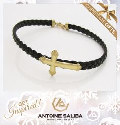#Get_Inspired #Christmas_Gifts  #Cross #Bracelet 18Kt #Gold with #Leather Strap Click for Details  http://antoinesaliba.com/link.php?id=313 #AntoineSaliba #Jewelry #Designer #Beirut #Byblos #Lebanon