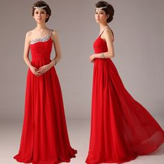 Beaded one shoulder with pleated bodice chiffon floor-length dress