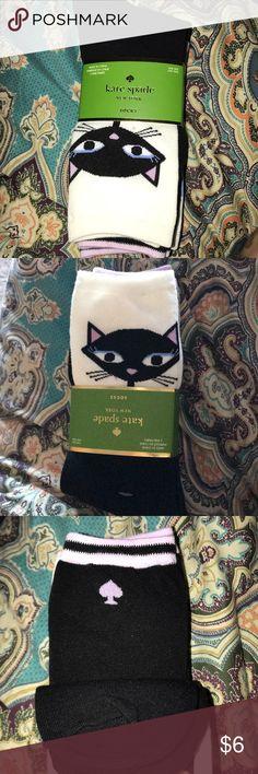 Kate Spade socks 3 pair 3 pairs Kate Spade socks. Cat black and white, black and lavender, white and periwinkle kate spade Accessories Hosiery & Socks