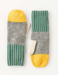 Colourblock Mittens AD239 Hats, Scarves & Gloves at Boden