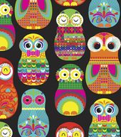 Novelty Cotton Fabric- Matryoshka Owls Print