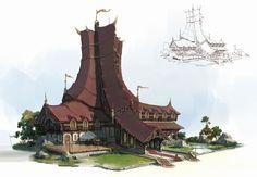 Fantasy architecture, lok du on ArtStation at https://www.artstation.com/artwork/169yL