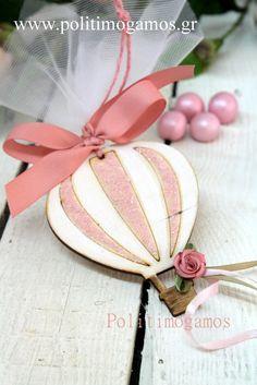 Μπομπονιέρα βάπτισης αερόστατο μαγνήτης | Ανθοδιακοσμήσεις | Χειροποίητες μπομπονιέρες και προσκλητήρια | Είδη γάμου και βάπτισης | Politimogamos.gr Edible Wedding Favors, Christening, Easter Ideas, Sketchbooks, Kids, Scrapbooking, Handmade, Baby, Decor