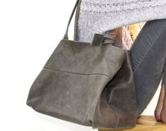 Sale!!! GREY Leather tote bag, leather bag, premium distressed leather bag, Large leather tote bag by limorgalili. Explore more products on http://limorgalili.etsy.com
