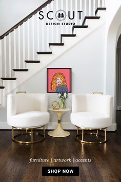 A mid-century modern mix featuring our Gunter Swivel Chair in Brass and Dolly Paper Portrait paired with a vintage side table. #entrywaydecor #swivelchair #pinkartwork #ivorychair #entrywaychairs #midcenturymodern