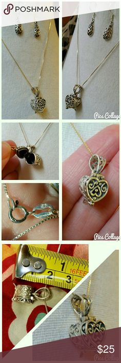 """Celtic Heart Prayer-Chest Necklace .925 Sterling Silver stamped chain and heart pendant, with Celtic designs. """"Prayer-locket"""" pendant. Excellent used condition. Only worn a few times. Pendant is about 2cm long, chain about 17.5 """" long. Feel free to ask any questions! Earrings also listed separately. They look super cute together! Jewelry Necklaces"""