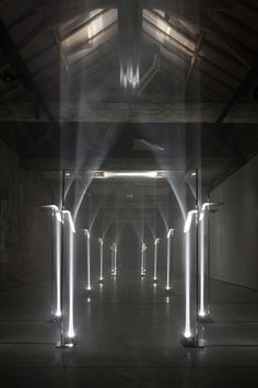 TROIKA - MAKING ARCHITECTURE OUT OF LIGHT. This site specific installation by the London based design studio, Troika was on exhibit last month in Kortrijk, Belgium for the international biennial - Interieur 2012.
