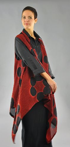Red and Black Bubble Silk Willow Vest by Michael Kane: Silk Vest available at www.artfulhome.com
