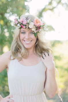gorgeous bride-to-be @Rachel Johnson wearing a floral crown by Bows and Arrows!