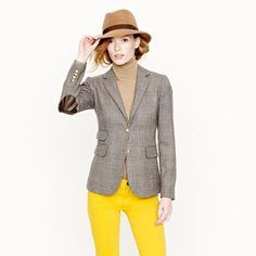 Spruce up with a splash of color. Mellow yellow jeans, wool jacket, turtle neck & hat. Footwear!