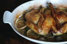 Spatchcocked and Braise-Roasted Chicken: Made this last night, for dinner. Delish. The skin gets crispy, but since it sits on top of a braising liquid, it gets flavorful and the interior stays moist. You could flavor this any way you want, just follow the technique.