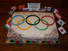 Olympic Rings with Flags Cake