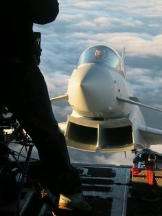Eurofighter - Typhoon - the unique view from under the deck of an aircraft carrier mobile runway