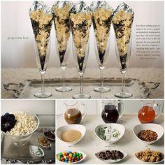 gourmet popcorn bar - caramel, chili oil, chocolate sauces, rosemary salt, garlic salt, red chili flakes, m, etc...