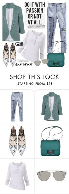 """""""Yoins"""" by helenevlacho ❤ liked on Polyvore featuring Hermès, Christian Dior, contestentry, rockthevote and yoins"""