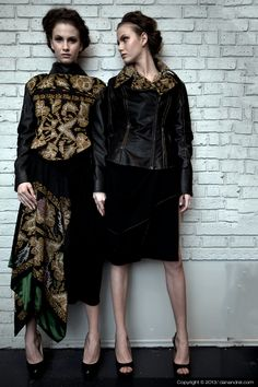 Sandra Galan is an avant-garde designer known for her innovative and edgy one of a kind designs. Sandro, Crepe Skirts, Goth, Biker Jackets, Dan, How To Wear, Hearts, Label, Fabrics