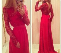 Red Prom Dress, Long Sleeve Prom Dress, Formal Prom Dress, Chiffon Prom Dress, Pretty Prom Dress, Occasion Dress, Long Prom Dress by DRESS, $158.00 USD