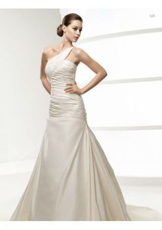 Satin One-shoulder with Ruched Bodice and Chapel Train in Zipper Clouser Brand New Custom Made 2010 Wedding Dress WD-0256