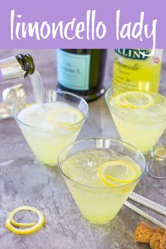Limoncello Lady - A 3 Ingredient Prosecco Cocktail-Your afternoon sipping just got a little bubblier! My 3 ingredient Limoncello Lady is tart, dry, and perfect for any afternoon sipping situation. Limoncello Cocktails, Italian Cocktails, Drinks With Lemoncello, Lemonchello Drinks, Cocktail Drinks, Cocktail Recipes, Beverages, Drink Recipes, Ale