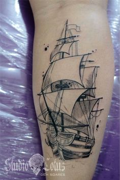 See 3 photos from 50 visitors to Studio Lotus. Pirate Ship Tattoo Drawing, Pirate Ship Tattoos, Pirate Tattoo, Pirate Ship Tattoo Outline, Daddy Tattoos, Tattoos For Guys, Gun Tattoos, Ankle Tattoos, Word Tattoos