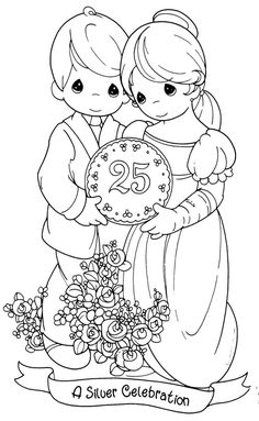 wedding anniversary coloring pages, precious moments Coloring Book Pages, Printable Coloring Pages, Coloring Sheets, Precious Moments Coloring Pages, Happy Anniversary, Wedding Anniversary, Silver Anniversary, Copics, Digital Stamps