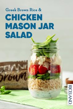This mason jar salad is both familiar and refreshing – it may just become your new favorite this season. This recipe has all the classic ingredients, but adds a twist by throwing Riceland Brown Medium Grain Rice into the mix. Long story short, the textures and flavors from this dish will make for a healthier lunch you'll revisit again and again … and probably again. Salad In A Jar, Rice Dishes, Brown Rice, Cucumber, Mason Jars, Salads, Greek, Health Fitness, Lunch