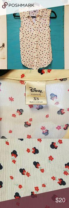 DISNEY lauren conrad sleeveless shirt Minnie Mouse print.  Lauren Conrad for Disney. disney lauren conrad  Tops Button Down Shirts