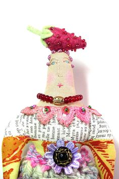 Whimsical Textile Art Doll by theresahutnick