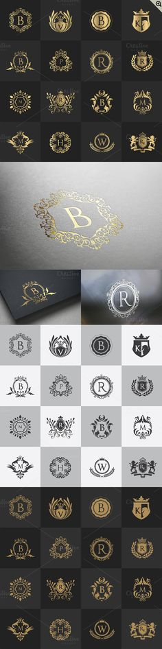 32 Luxury logo set (PSD) Templates Logo Template Features *** updated V (Adobe Photoshop)- .eps (Adobe Illustrator 10 versio by Super Pig Shop 2 Logo, Logo Branding, Branding Design, Business Card Logo, Business Card Design, Modele Flyer, Doodle Drawing, Plakat Design, Wedding Logos
