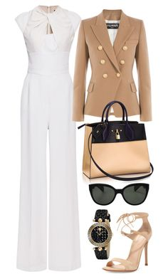 White, Tan & Black by carolineas on Polyvore featuring polyvore, fashion, style, Balmain, Elie Saab, Gianvito Rossi, Versace, Oliver Peoples and Louis Vuitton