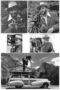 Ansel Adams in Yosemite. Edward Weston, Black And White Landscape, Black N White Images, Ansel Adams Photography, Art Photography, Famous Photographers, Landscape Photographers, Polaroid, Henri Cartier Bresson