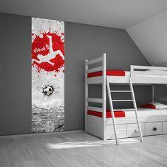 Muursticker paneel voetbal rood - Voetbalkamer idee