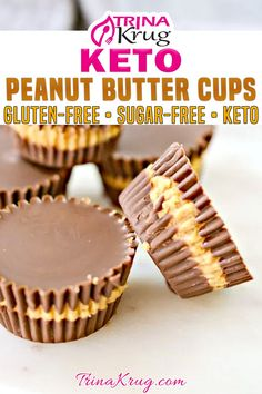 Looking for the perfect bite size keto snack? These keto peanut butter cups are filled with chocolate, peanut butter and simple deliciousness! Let's get real. Who doesn't LOVE regular, full carb Peanut Butter Cups? Don't worry – this recipe is not for those! There ARE a few things that I miss, though. So I set out to make the best Keto Peanut Butter Cup recipe out there! | Trina Krug @trinakrug #ketopeanutbuttercups #easyketosnacks #sugarfreedesserts #lowcarbdesserts #trinakrug Easy Gluten Free Desserts, Keto Dessert Easy, Sugar Free Desserts, Low Carb Desserts, Dessert Recipes, Peanut Butter Recipes, Peanut Butter Cups, Keto Candy, Real Food Recipes