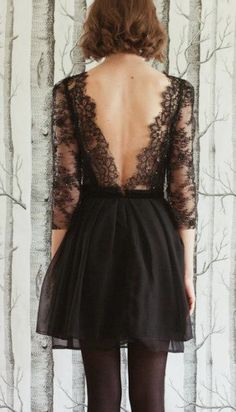 Lace V-back dress / Sarah Seven