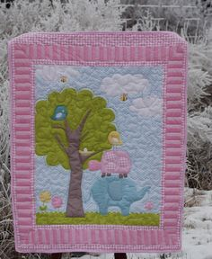 Baby Quilt, Baby Girl Quilt, Elephant Quilt