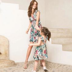 Mommy&me Women's V-neck Sleeveless Floral Printing Family Clothes Dress Mother Kids Mother Daughter Dresses Matching Family 1