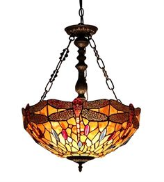 """CHLOE Lighting CH33471AD18-UH2 Dragonfly Inverted Pendant """"EMPRESS"""""""