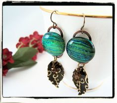 Green Dichroic Fused Glass Dangle Earrings $22.99